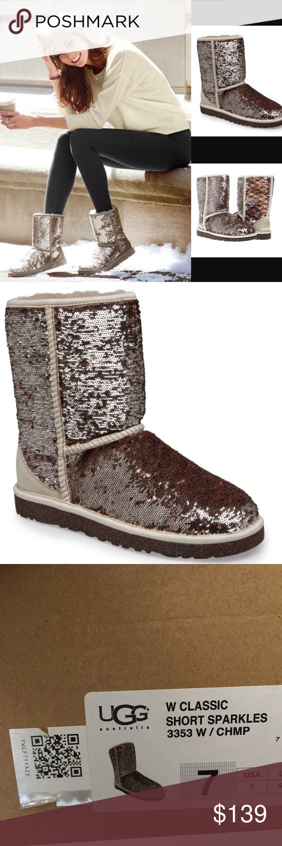 UGG Classic Short Sparkle Boot Size 7 NWT and comes with original box, no flaws. These classic uggs give an extra sparkle to your winter wardrobe. Fits true to Size fits 7-7.5. No trades, offers welcome. UGG Shoes Winter & Rain Boots