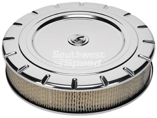 "NEW BILLET SPECIALTIES VINTAGE POLISHED ALUMINUM, LARGE ROUND AIR CLEANER ASSEMBLY, 14"" DIAMETER X 3"" TALL WITH K&N LIFETIME FILTER ELEMENT & STAINLESS STEEL HARDWARE Southwest Speed http://www.amazon.com/dp/B00XWPL8Z6/ref=cm_sw_r_pi_dp_Bsjxvb1XY8V8R"