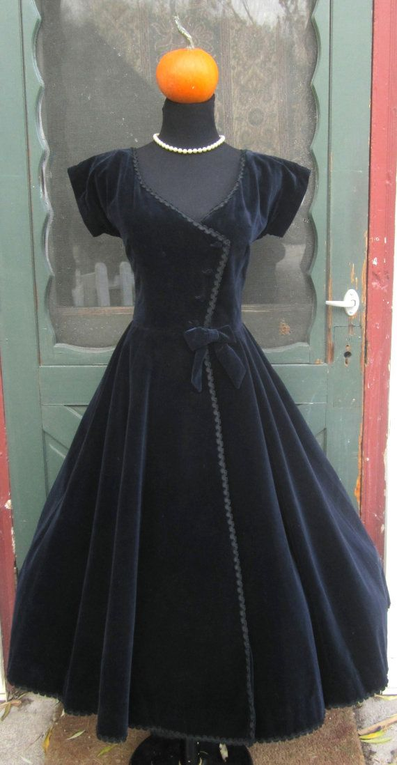 Vintage 1950's Midnight Blue Velvet Bomdshell Dress - Retro Wasp Waist Party Dress