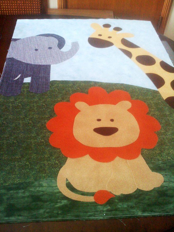 jungle quilt, nursery, crib quilt, lion, giraffe, elephant, applique
