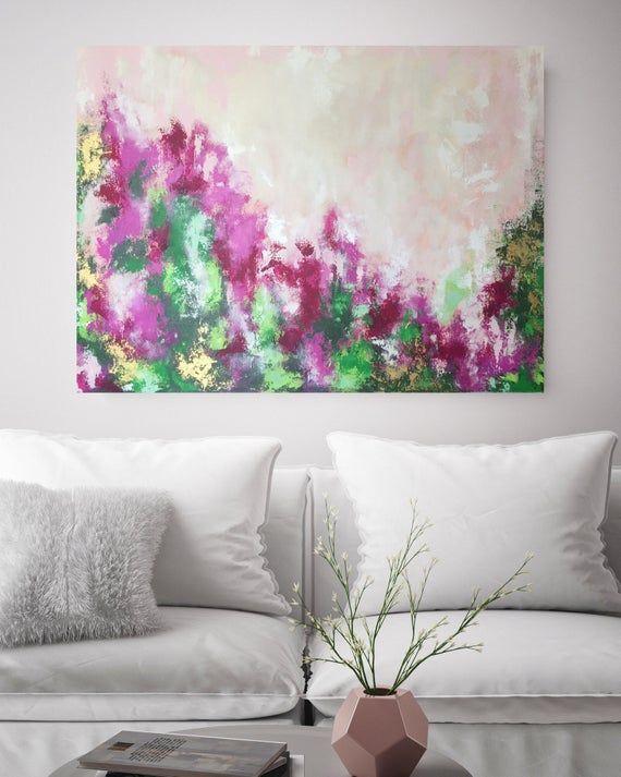 Flowers Painting On Canvas 30x40 Blush Flower Etsy Textured Wall Art Original Abstract Art Horizontal Wall Art