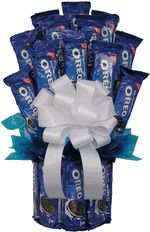 Oreo Cookie Gift Basket. Who doesn't love Oreos? What better gift can you give to someone than an Oreo Cookie Bouquet.  This delicious gift can be sent as a birthday present, a congratulations gift, a thank you present or even to cheer up a homesick college student as a college care package.This Oreo Lovers Bouquet consist of 19 large packages of Oreo Cookie products.It is then wrapped in a cellophane bag and topped with a bow.igmy 1.12
