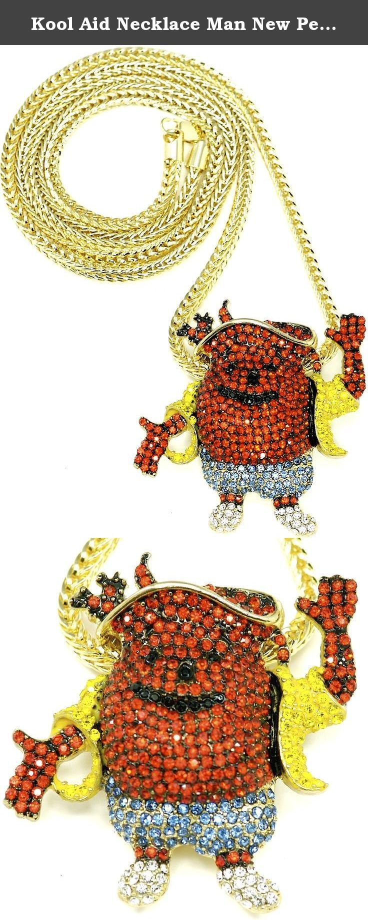 Kool Aid Necklace Man New Pendant With Gold Color 36 Inch Franco Style Chain. Iced Out Pendant Necklace Piece. Iced out in gold, blue, red, black, and silver color crystal rhinestones. Gold color Franco style 36 inch, 4mm chain with lobster claw clasp. Well crafted pendant measures 2.5 inches by 2.5 inches. Your satisfaction is guaranteed.