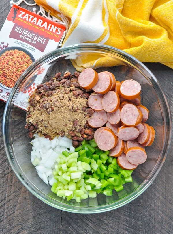 Dump And Bake Sausage Red Beans And Rice Casserole
