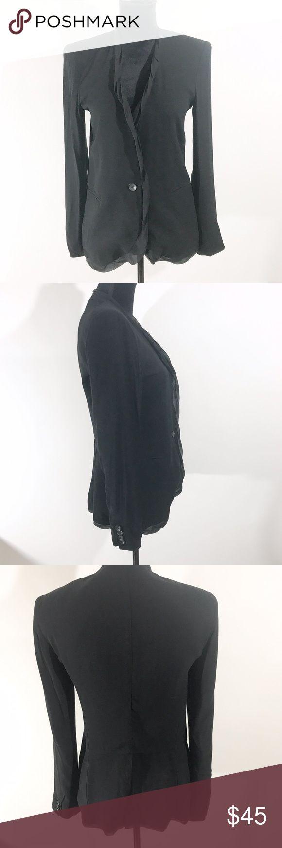 Helmut Lang Blazer Sleek black blazer with ruffle detail. Classic closet staple.   Length 26 inches  Sleeve Length 23 3/4 Bust 16 inches  Shell 100% Viscose Lining 95% Silk 5% Spandex Helmut Lang Jackets & Coats Blazers