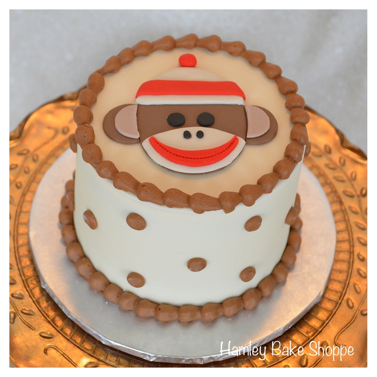 Sock Monkey Smash Cake - like the decor idea minus sock monkey and with yellow red polka dots