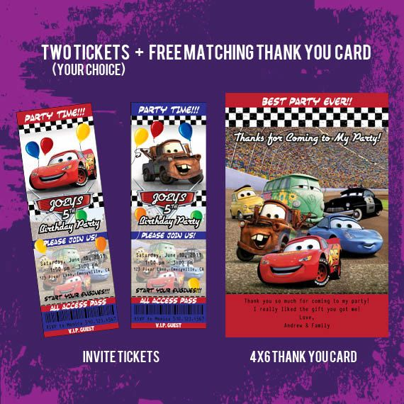 Printable Disney Cars Ticket Style Invitations \ Free Thank You - printable fake airline tickets