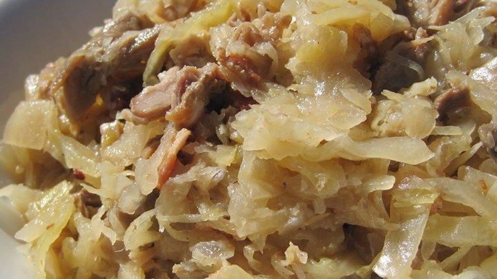Try this recipe for a change from the ordinary.  Sauerkraut is baked with mushrooms, onions and cabbage.