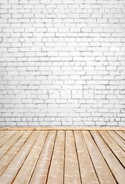 Kate White Brick Wall And Wooden Floor Backdrop For Photography No Wrinkle Fabric Seamless