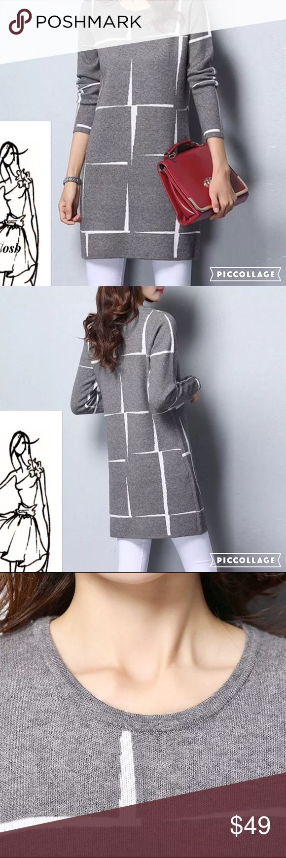HP!!🎉2 Left! Classic Stunning Gray Abstract Dress Beautiful, Classical Gray & White Abstract Print Sweater Dress. Wear as a mini or with white or gray jeans/leggings. Sweater has rounded  neckline & long sleeves. Beautiful! Cosb Dresses Mini