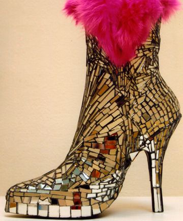 Ankle boot sculpture -                        shards of mirror with hot pink fur.