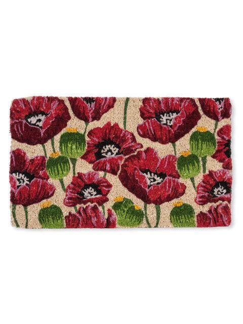 "30"" X 18"" Natural Coir Fiber All Over Poppy Flower Outdoor Doormat  | eBay"