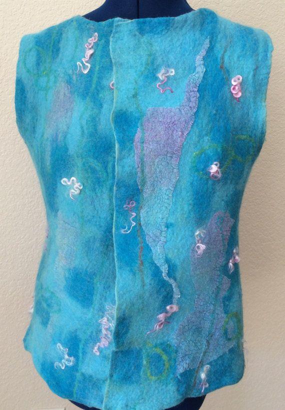 Felted vest wool and silk vest women's vest blue by FancyFancies