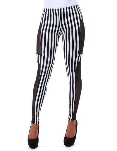 Pin stripe leggings with black outer leg panel..