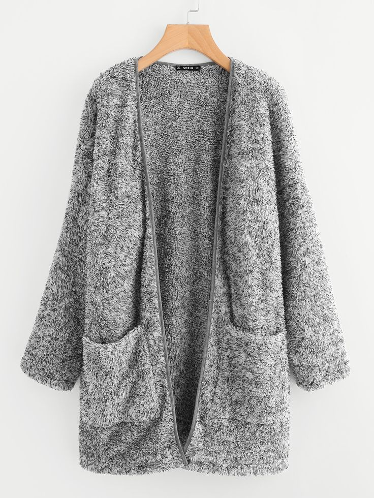Shop Patch Pocket Open Front Fuzzy Coat online. SheIn offers Patch Pocket Open Front Fuzzy Coat & more to fit your fashionable needs.