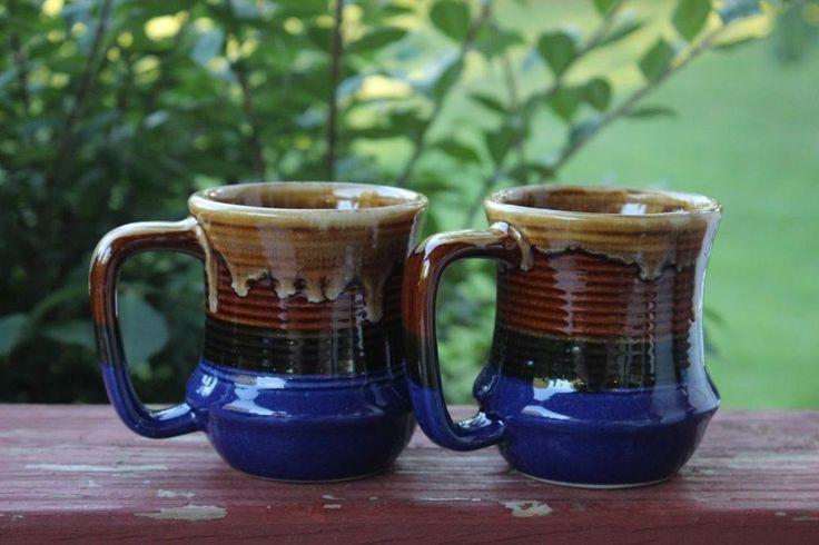 2 Vintage Taiwan Drip Glaze Mugs Cups Blue Brown Coffee Tea GORGEOUS Green Tan