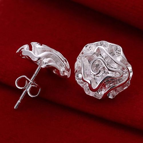 Bluelans Persinality Girl's Silver Plated Rose Flower Studs Earrings for fashion Accessory