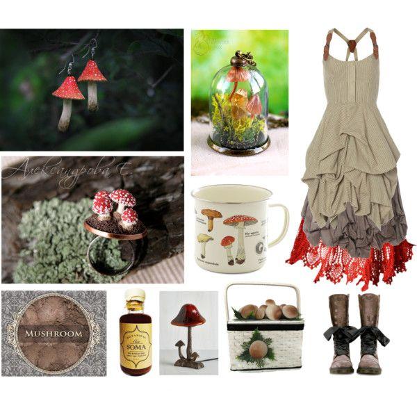 Mushroom Gatherer by maggiehemlock on Polyvore featuring AllSaints, Sophia Kokosalaki, Dr. Martens and Soma
