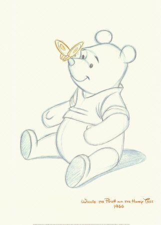 Pooh bear... this would be a cute tattoo, in black but colour the butterfly yellow and his top red