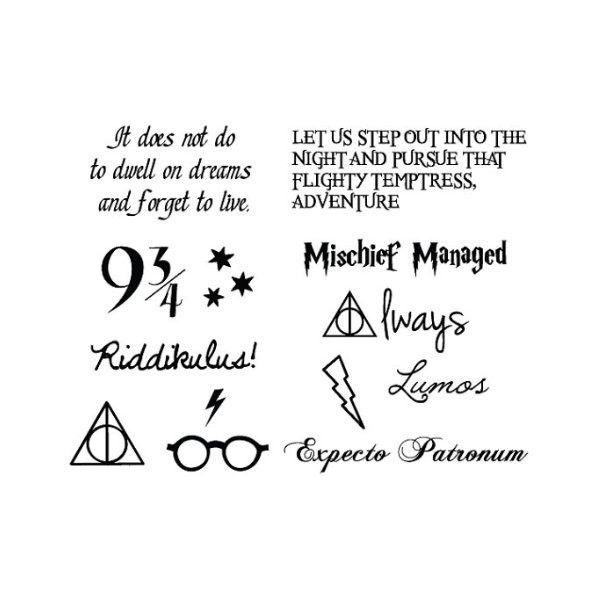 Tattify Harry Potter Temporary Tattoos, You're a Wizard, Set of 24 (1,910 INR) ❤ liked on Polyvore featuring accessories and body art