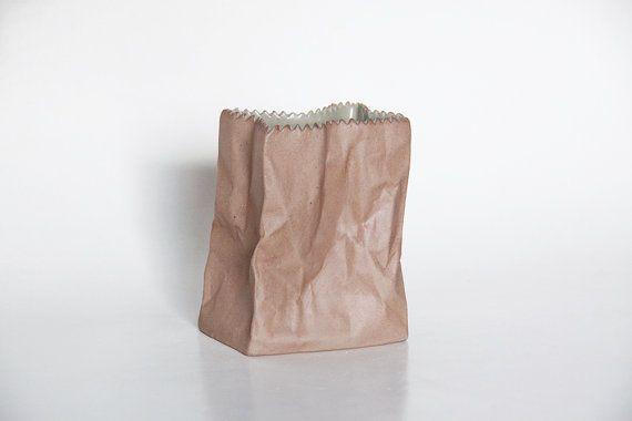Modernist Brown Bisque Paperbag Vase by Tapio Wirkkala