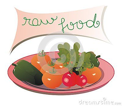 #plate with #tomatoes, green #peppers, #radishes and a panel with the message: #raw #food