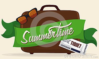 Brown suitcase with a green ribbon around with Summertime text, sunglasses and ticket.