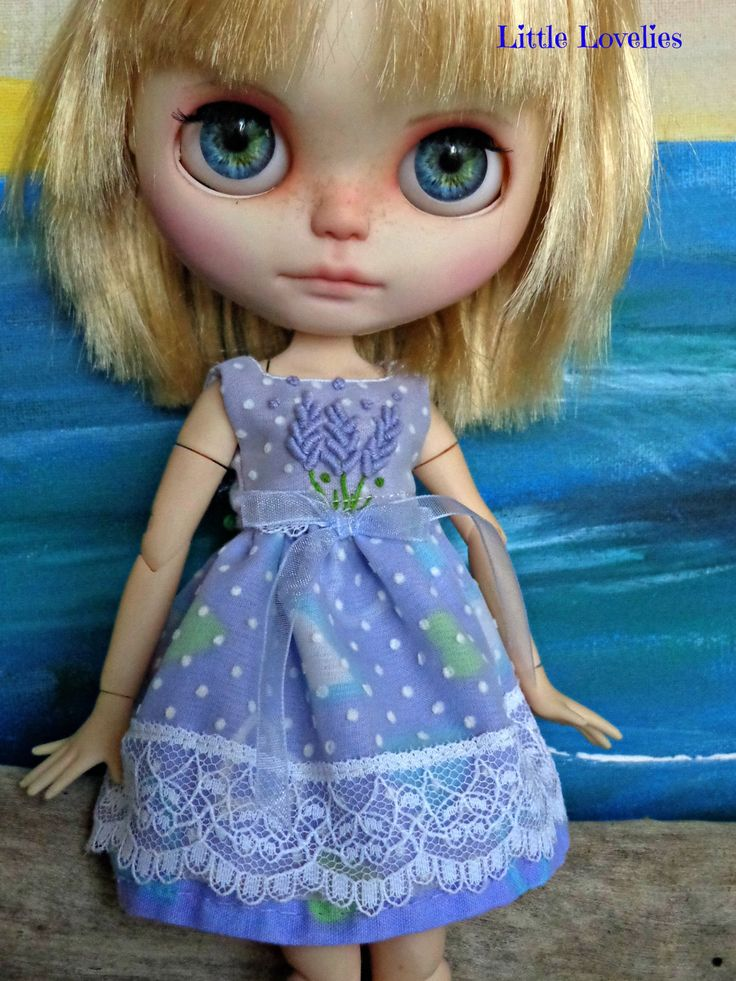"""Blythe or Pullip Doll  OOAK -""""Lady In Lavender"""" -3d embroidered lavender bunch with dotted flock swiss and lace by LittleLovelieShop on Etsy"""