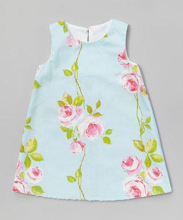 Loving this Light Blue Floral A-Line Dress - Infant, Toddler & Girls on #zulily! #zulilyfinds