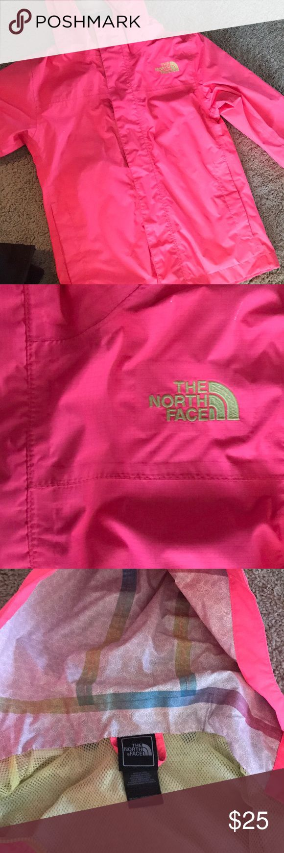 Girls North Face rain jacket Perfect condition, pretty pink rain jacket. Waterproof with hood. Size 7/8 The North Face Jackets & Coats Raincoats