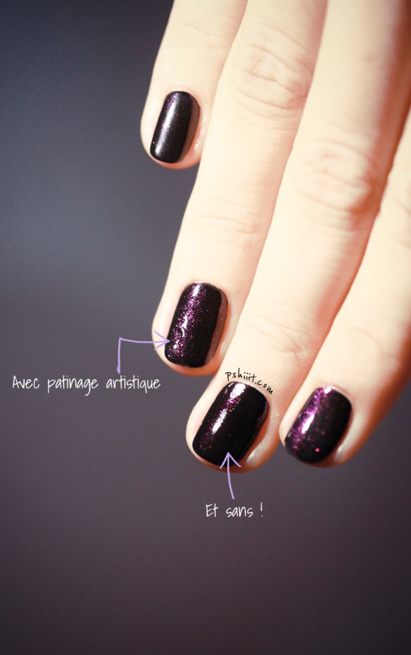 Use nail polish remover to gently remove a thin top layer of your polish in order to increase the shimmer in dark shimmer polishes.