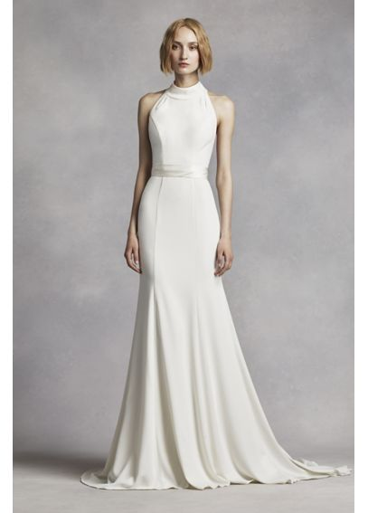 White By Vera Wang High Neck Halter Wedding Dress VW351263 In Black Add Illusion Sleeves