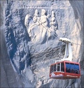 Stone Mountain Park, Atlanta - The rock's top attraction is The Summit Skyride. This high-speed Swiss cable car provides a stunning view of the Confederate Memorial Carving as it transports guests more than 825 feet above ground to the top of Stone Mountain. From the top, experience amazing views of the Atlanta skyline, the Appalachian Mountains and more up to 60 miles away.