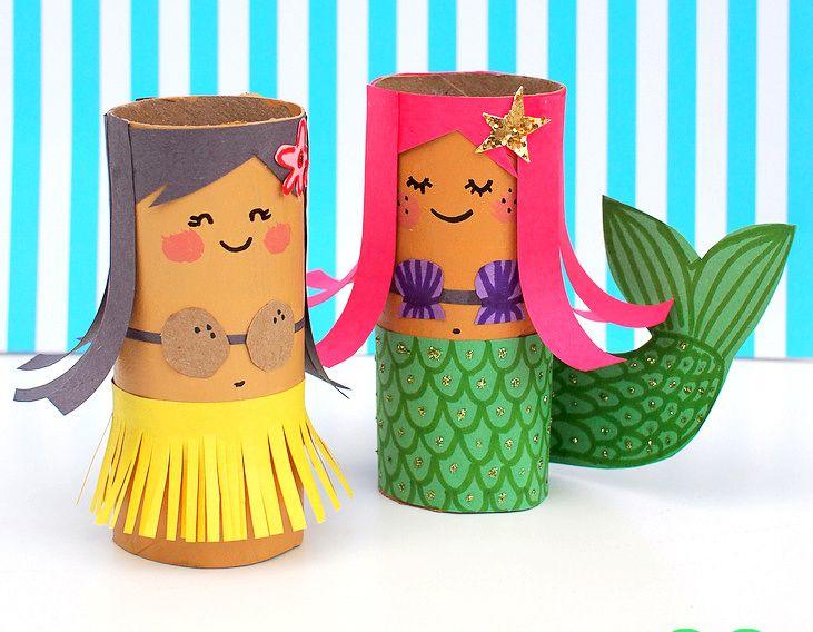 Hawaiana y sirenita hechas con tubos de papel higiénico #manualidades #verano