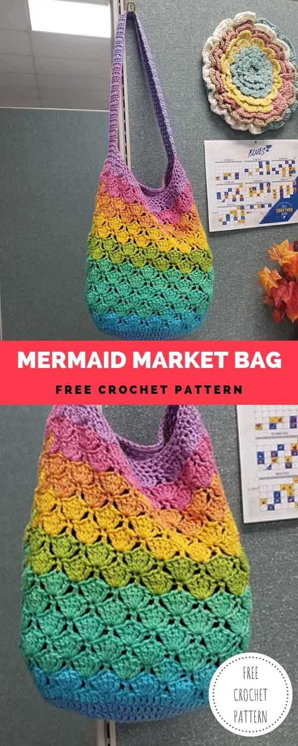 Mermaid Market Bag [Free Crochet Pattern]