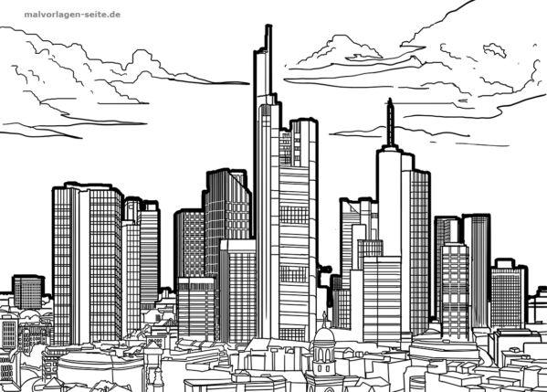 skyline frankfurt am main zum ausmalen kostenlos