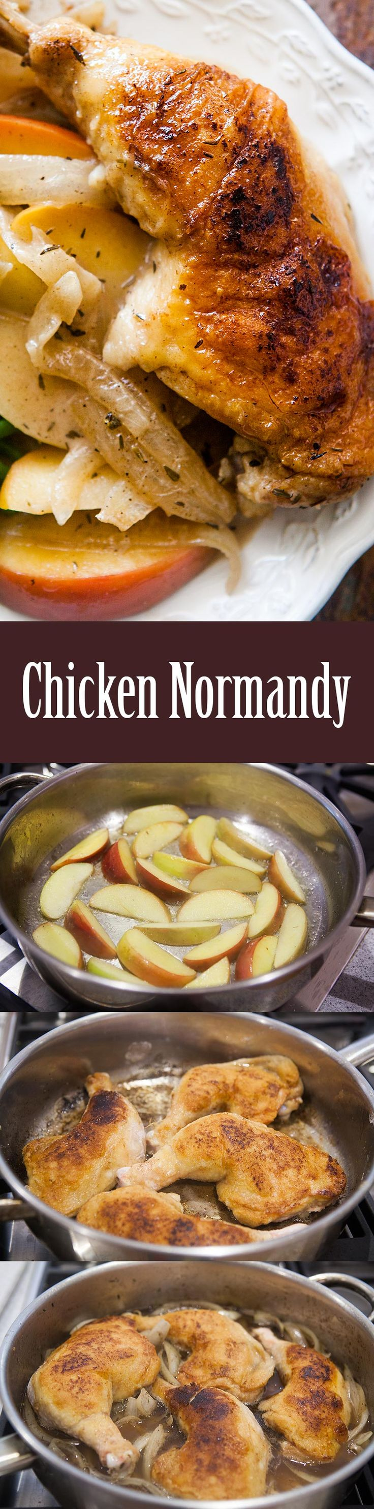 Chicken Normandy ~ Chicken browned and braised in apple cider and brandy, cooked with apple slices and onions, served with a cream sauce. ~ SimplyRecipes.com