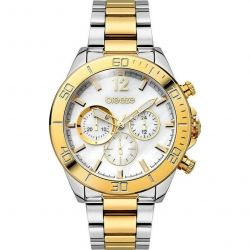 Breeze Trinity Lux Mop Chronograph Two Tone Stainless Steel Bracelet 710291.2