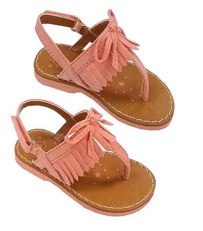 Koala Kids Girls Peach Hard Sole Fringed Sandals - Infant/Toddler