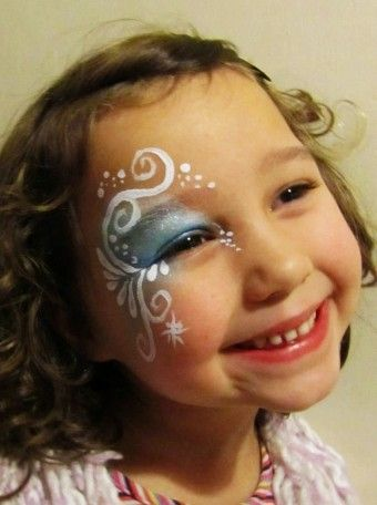 Little girl Halloween Frozen face paint designs 2015 - Elsa - You will love these great 2015 Halloween face paint by hashtagseverywhere