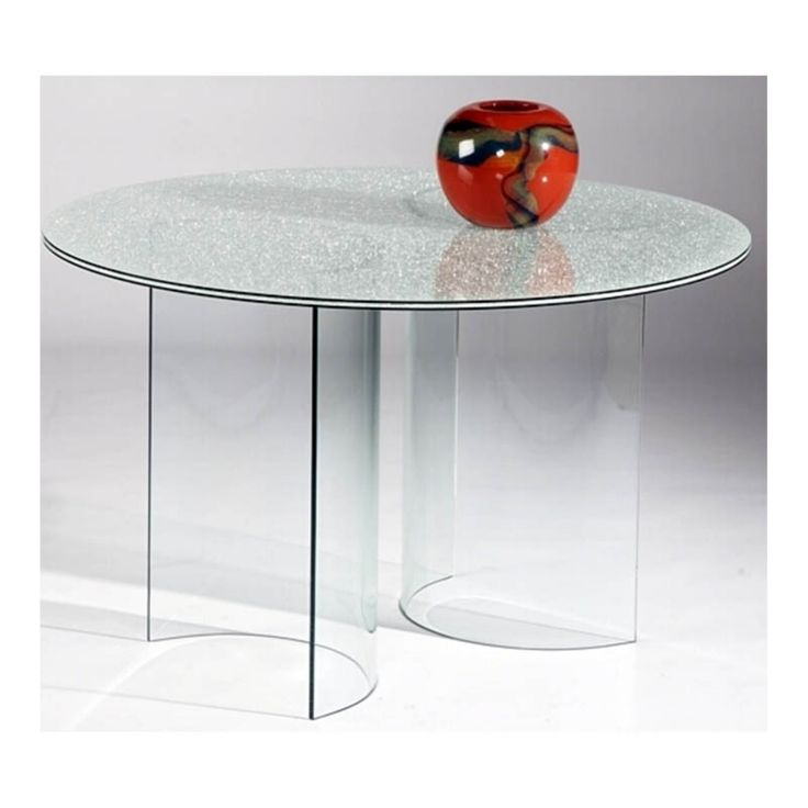 Chintaly Carmel Crackle Glass Round Dining Table - CTY1214