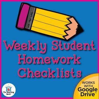 FREE Weekly Student Homework Checklists Printable, Editable, an