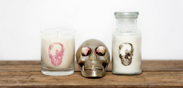 torch soy candles  packaging soy candles  skulls
