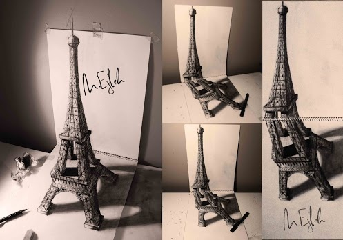 Eiffel Tower. Other angles. 3D anamorphic art by +Muhammad Ejleh