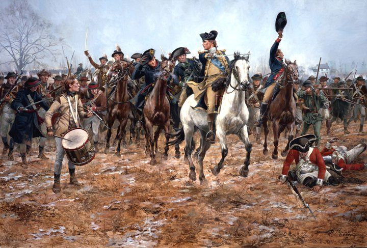 General George Washington leads a counterattack at the battle of Princeton , January 3, 1777. This victory along with his previous crushing defeat of the Hessians at Trenton literally saved the patriot cause. Here Washington with his staff and escort of Philadelphia Light Horse, rally the Philadelphia Associator Battalions , riflemen and other Continental troops. Some wounded of the 17th Regiment of Foot are seen in the foreground. In the far background is the Thomas Clarke house.