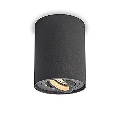 QAZQA Design / Moderne / Plafonnier - Spot de plafond de Plafond Rondoo Up gris foncé Aluminium Cylindre Compatible pour LED GU10 Max. 1 x 50