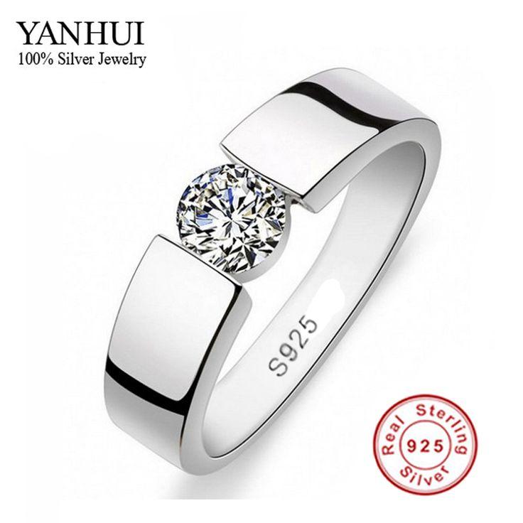 Sent Silver Certificate! Men's 100% 925 Sterling Silver Ring Set 1 Carat SONA CZ Diamond Engagement Ring RING SIZE 6 - 11 YRD10 www.bernysjewels.com #bernysjewels #jewels #jewelry #nice #bags
