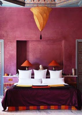 #Moroccan bedroom decor. Raspberry tadelakt walls & a Moroccan fortuny style skin pendant. #design.