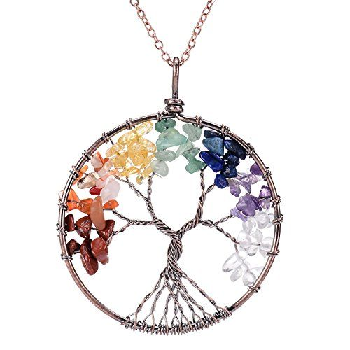 Gemstone Tree of Life Pendent Necklace Natural Rainbow Birthstone Family Tree Root Antique Copper Wire Wrapped Jewelry Mothers Day Gift Healing Chakra Quartz Crystal Necklace for Mom *** Learn more by visiting the image link.-It is an affiliate link to Amazon. #ChristmasGift