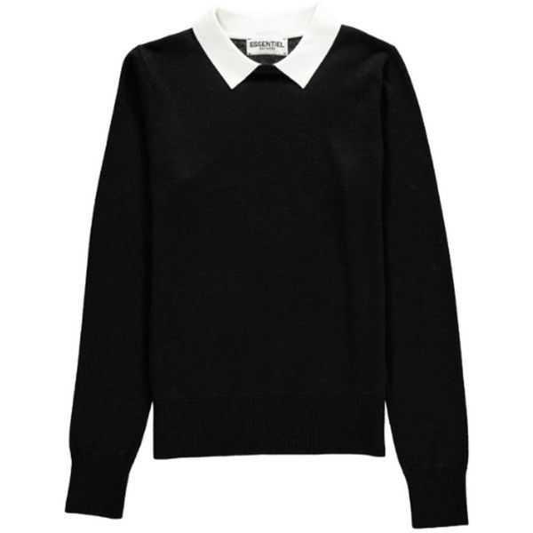 Essentiel Nagoya Collared Sweater - Black found on Polyvore featuring tops, sweaters, black, evening tops, collared sweater, collar top, long sleeve sweater and holiday sweaters